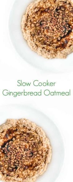 Slow Cooker Gingerbread Oatmeal - A cozy breakfast full of warm spices and healthy ingredients! #oatmeal #glutenfree #breakfast #mealprep #easyrecipes