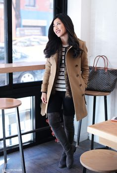 cold weather winter outfit - lots of layers: striped tee, faux fur vest, moto jacket, and then wool coat