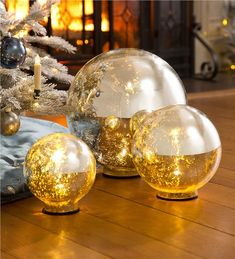 Main image for Lighted Mercury Glass Globes, Set of 3