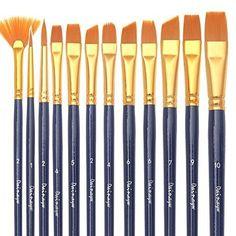 dainayw-Dainayw-Art-Paint-Brush-Set-12-Nylon-Hair-Brushes-for-Art-Painting-amp