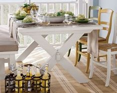 The table in our kitchen will definitely be a picnic table - cute and country. Will look for one with unattached benches.