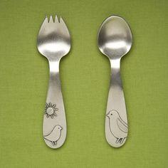 Pewter spoon set, Momma & Baby Bird.