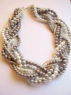 braided twisted beaded pearl necklace