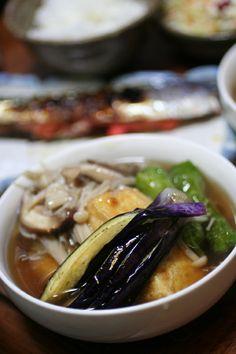 2013.10.15 きのこいっぱい揚げ出し豆腐とサンマ明太