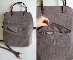 Reisetaschen - Foldover Weekender in chocolate herringbone - ein Designerstück von frankandgertrude bei DaWanda