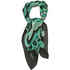 Black and Green Marble Scarf by Missoni Accessories from... (2.135 ARS) ❤ liked on Polyvore featuring accessories, scarves, missoni shawl, missoni scarves, missoni, green shawl and green scarves