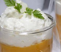 Verrine à la courge butternut et mousse de parmesan Mousse, C'est Bon, Parmesan, Pudding, Pains, Desserts, Gourds, Sprouts, Food