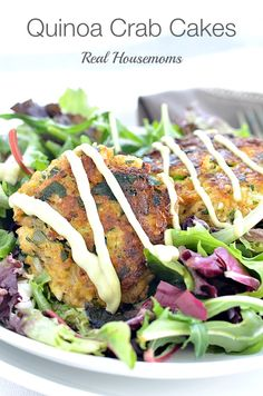These quinoa crab cakes are so good!!!  They really are very simple to make!  When you serve them on a plate of balsamic mixed greens they look fancy enough to serve for a special occasion!