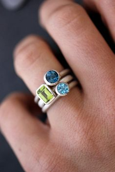 Gemstone Stacking RIngs in Emerald Cut Peridot, Lonson Blue Topaz and Swiss Blue Topaz and Sterling Silver
