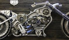 Custom Hand-Made Motorcycle Sculpture  3D Metal Art  Harley