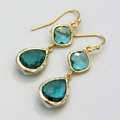 Deva. Sea Green Teardrop Dangle Faceted Glass Stone Earrings Gold by lepetitruban, $34.00