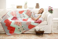 Heart Chevron Quilt from Tula Pink in 'Sew Red'.