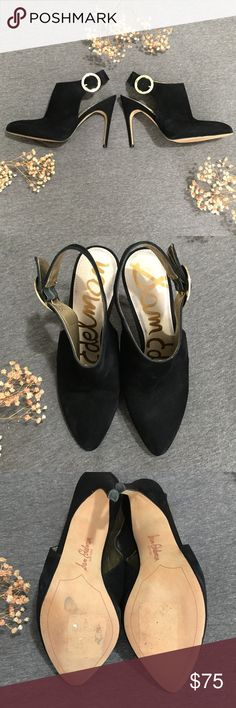 Sam Edelman Julian Dress Pump Booties Somewhere between a pump and bootie are these gorgeous pointed toe black suede leather shoes with gold hardware! Easy to dress up or down these fashion foward shoes are a must have! Great condition, these shoes have a few small marks and light wear on the suede and a little discoloration on the inner sole, all as pictured. Sam Edelman Shoes Heels
