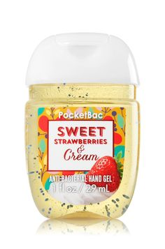 Sweet Strawberries & Cream - PocketBac Sanitizing Hand Gel - Bath & Body Works - Now with more happy! Our NEW PocketBac is perfectly shaped for pockets & purses, making it easy to kill of germs when you're on-the-go! New, skin-softening formula condi Bath Body Works, Bath And Body Works Perfume, Bath N Body, The Body Shop, Antibacterial Gel, Sephora, Bath And Bodyworks, Concealer, Peeling