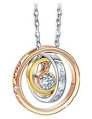 """Qianse® """"I Love You Mom"""" Engraved Script Trinity Ring Pendant Necklace Made with SWAROVSKI Crystal"""