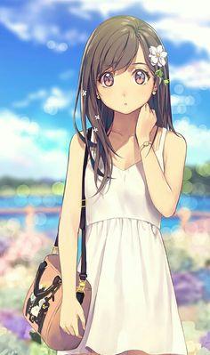 #kawaii #girl #brownhair #draw #flower #bag #dress #city