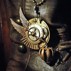NAVIGATOR - Steampunk Airship Pirate Pilot Wings Repurposed Brass Pocket Watch Plate Mens, Womens Necklace