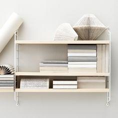 Ash and white String Pocket shelf.