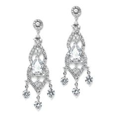 Magnificent Cubic Zirconia Wedding or Pageant Chandelier Earring