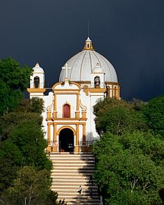 Virgin of Guadelupe church in San Cristobal de las Casas. More: http://roadslesstraveled.us/san-cristobal/  Black storm clouds engulfed this cathedral as the sun was setting... More: http://roadslesstraveled.us/san-cristobal/