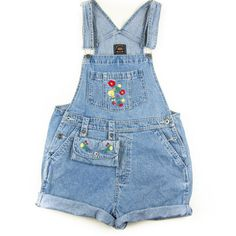 FULL HOUSE 1990's Denim Short Overalls with Matching Fanny Pack ($24) ❤ liked on Polyvore featuring jumpsuits, rompers, shorts, overalls, bottoms, dresses, bib overalls, denim overalls, blue denim overalls and blue overalls