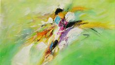 ORIGINAL Oil Painting Nature Forces 40 x 23 Palette Knife Colorful Textured Abstract Green Purple White Yellow by Marchella