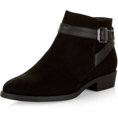 New Look Black Suedette Buckle Ankle Boots ($24) ❤ liked on Polyvore featuring shoes, boots, ankle booties, black, round toe boots, buckle ankle boots, ankle boots, black bootie boots and black ankle booties
