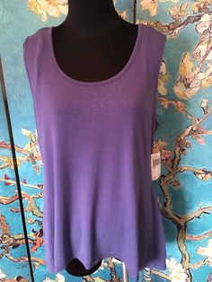 GRACE NEW L SOLID PURPLE ROUND NECK RAYON BLEND HI-LO SLEEVELESS TUNIC TOP #GRACE #Tunic #Casual
