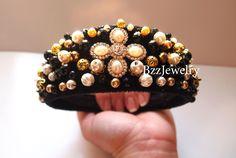 SALE Baroque Headband, bead embroidered headband dolce gabbana crown, fashion crown, DG headband, dolce gabbana headband, beaded headband
