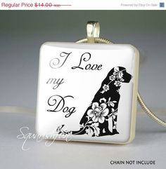ON SALE I love my dog scrabble tile pendant,dog lover jewelry pendants,dog resin pendant- N0033