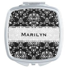 #floral - #Black and White Damask Personalized Compact Mirror