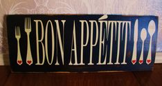 Bon Appetit Reclaimed Wood Black Cream Red Heart Kitchen Sign Wall Decor