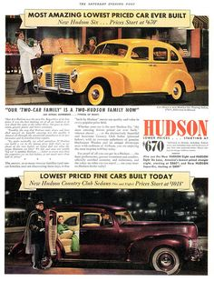 1940 Hudson Six Touring Sedan & Country Club Sedan