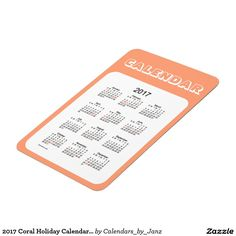 2017 Coral Holiday Calendar by Janz 4x6 Magnet