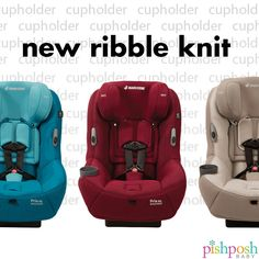 From the geniuses at Maxi Cosi comes the newest member of their Pria 85 convertible car seat family: the Ribble Knit! Along with the standard safety features you'd expect to see in this line is the premium knit.  Plus holders that keep the harness out of the way. And so much attention to detail, it's really insane (read: CUPHOLDERS!) Available in 6 colors - ships late September!!  http://www.pishposhbaby.com/maxi-cosi-pria-85-convertible-car-seat-ribble-knit-limited-edition.html