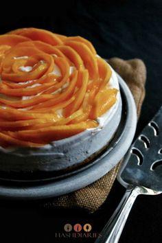 Mango Cake With Cardamom Cream Recipe Dessert Cake Recipes, Desserts, Mango Cake, Dinner Party Table, Cream Recipes, Panna Cotta, Peanut Butter, Ethnic Recipes, Brownies