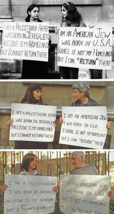 A Jewish woman and a Palestinian woman protesting together in 1973, 1992, and 2001