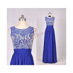 Dark Royal Blue Beaded Long Prom Dresses Formal Bridesmaid Dresses... ($122) ❤ liked on Polyvore featuring dresses, black, women's clothing, black dress, formal dresses, chiffon prom dresses, chiffon bridesmaid dresses and prom dresses