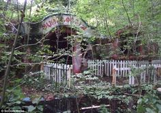 Abandoned: The entrance to Mr Blobby's home, named 'Dunblobbin', is surrounded by dead trees and a carpet of decaying leaves