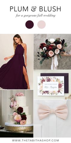 Gorgeous fall wedding colors - plum and blush! Clockwise, starting top left: Maxi Dress by Lulu's // Bouquet by Lavenders Flowers // Future Mrs. Card by The Tabitha Shop // Bow tie by Cheap Neckties // Florals on cake by The Flower Girl