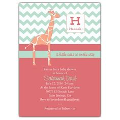 How cute is the coral and mint on this invite?