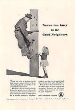 1941 VINTAGE BELL TELEPHONE SYSTEM NEVER TOO BUSY TO BE GOOD NEIGHBORS PRINT AD