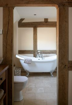 Luxury Bathroom In Oak Framed House With Roll-top Bath By Roderick on Home Bathroom Ideas 9588 Rooms Country, House Bathroom, Trendy Bathroom, Oak Frame House, Modern Bathroom Design, Cottage Bathroom, Bathrooms Remodel, Barn Bathroom, Bathroom Design