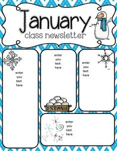January Newsletter Template  Customizable  Free  Kindergarten