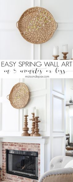 Looking for an easy spring decor idea? In about five minutes, you can turn a simple basket and inexpensive faux flowers into gorgeous spring wall art!