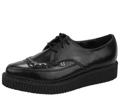 T.U.K. Shoes A8533 Black Leather Lace Up Pointed Creeper   $80.00