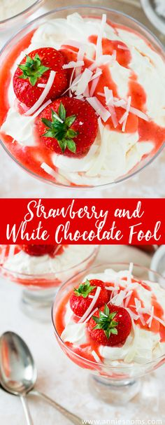 These Strawberry and White Chocolate Fools are made up of sweetened cream, a fresh strawberry purée and flakes of creamy white chocolate!