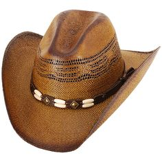 Western Express Brown Brockway Straw Cowboy Hat ( 17) ❤ liked on Polyvore  featuring accessories 70e98cc2dd28