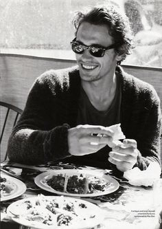 There's something about a man, eating, smiling, with retro shades that screams sex appeal -