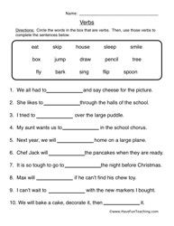 Fill in the Blanks   Verb Worksheet 1 – Fill in the Blanks: complete the sentences with the verbs.  Information: Verb Worksheet, Verbs Worksheet, Parts of Speech Worksheet, Action Words Worksheet